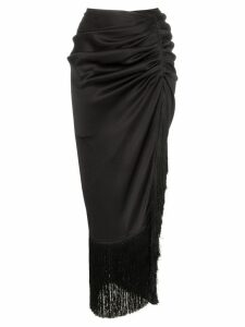Magda Butrym alba fringed silk skirt - Black