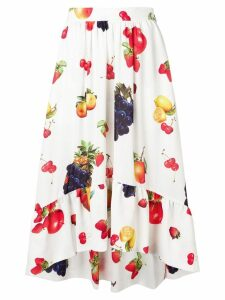 MSGM fruit print flared skirt - White
