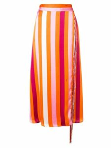 MSGM fringed striped skirt - Orange