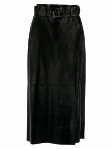 Nk leather midi skirt - Black
