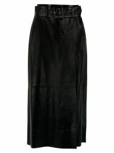 Nk leather midi skirt - Black