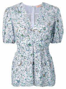 Tory Burch floral print lace blouse - Blue