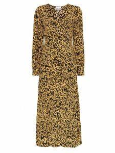 Ganni goldstone floral print crepe dress - Black