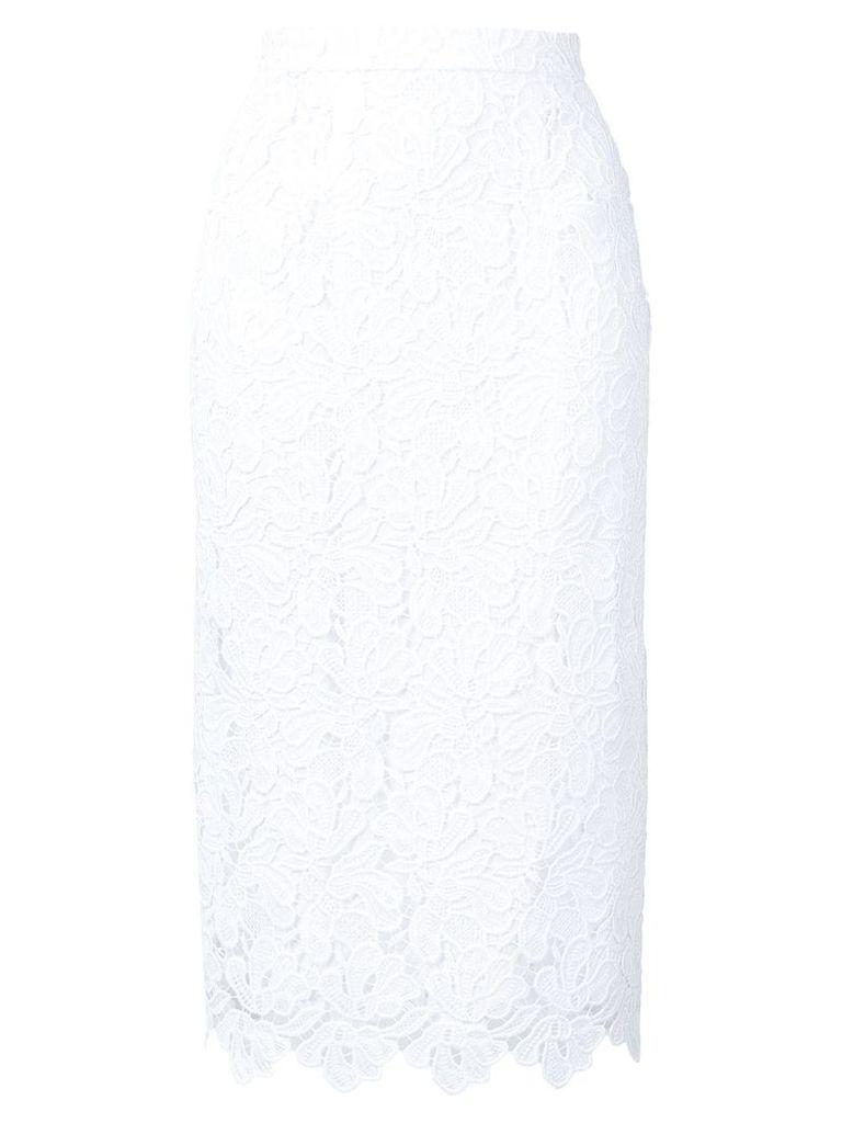 Ermanno Scervino lace embroidered pencil skirt - White