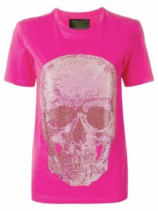 Philipp Plein crystal embellished skull T-shirt - Pink