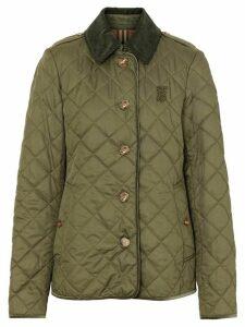 Burberry Monogram Motif Diamond Quilted Jacket - Green
