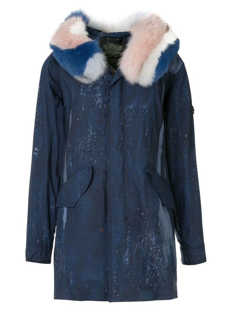Mr & Mrs Italy fur-trim parka coat - Blue
