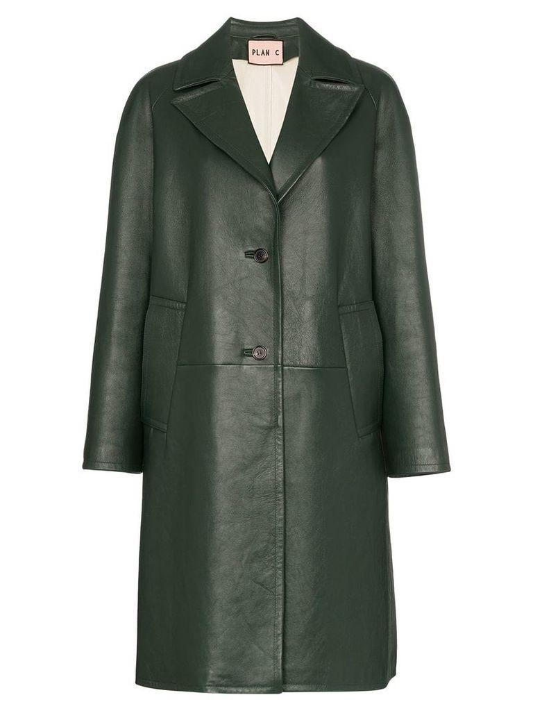 Plan C Notch lapel leather coat - Green