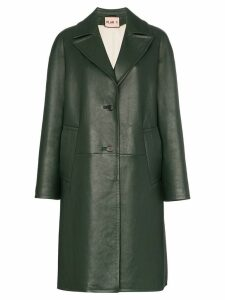 Plan C Notch lapel leather coat - Green