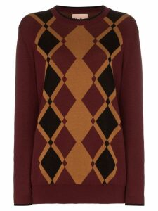 Plan C Argyle Knitted Jumper - Brown