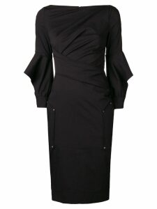 Talbot Runhof ruffle sleeve fitted dress - Black
