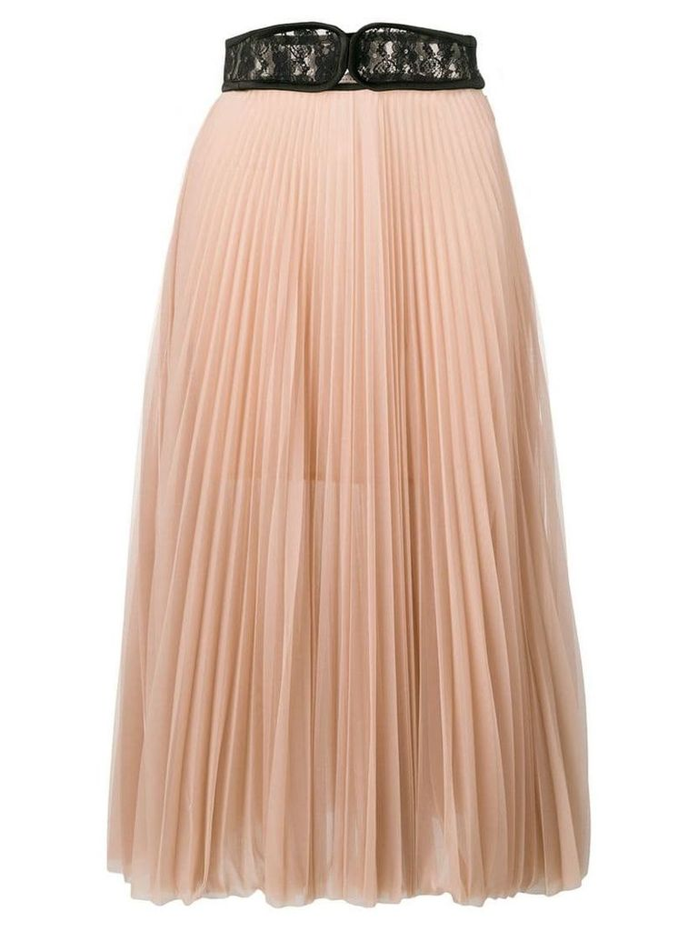 Christopher Kane lace crotch pleated skirt - Neutrals