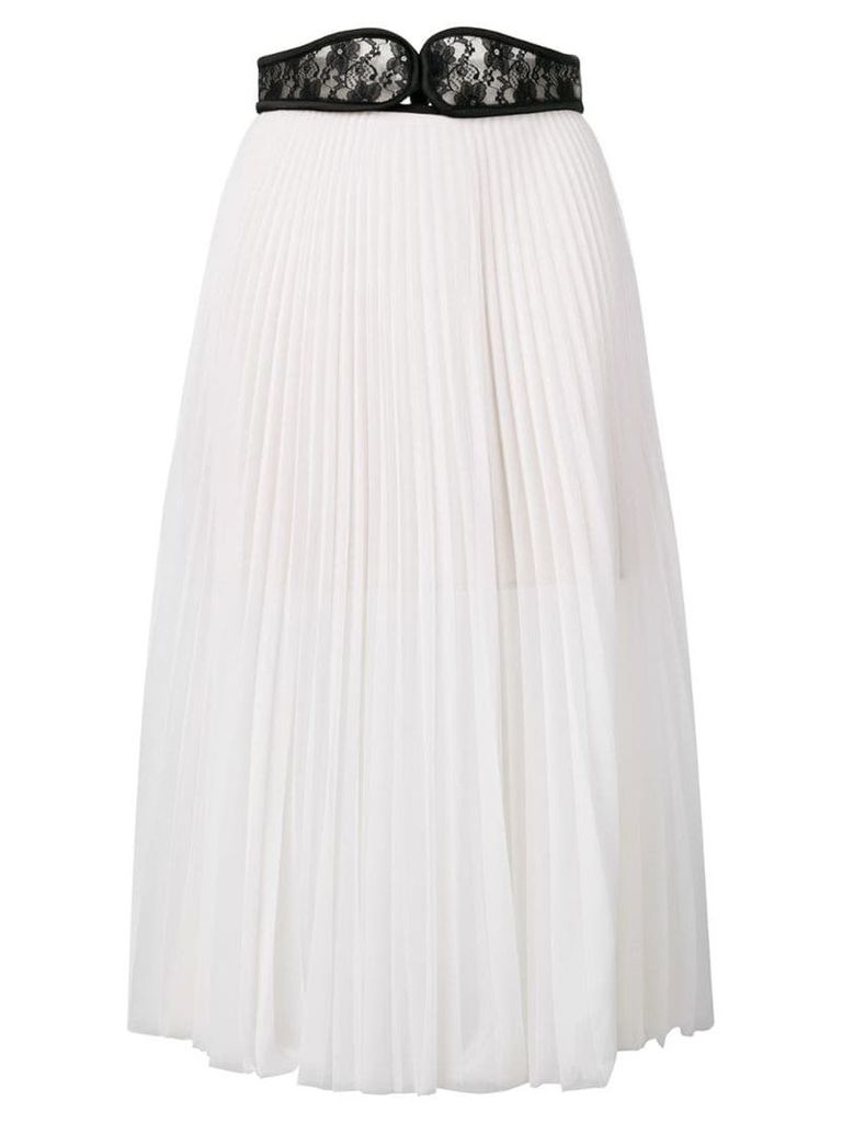 Christopher Kane lace crotch pleated skirt - White