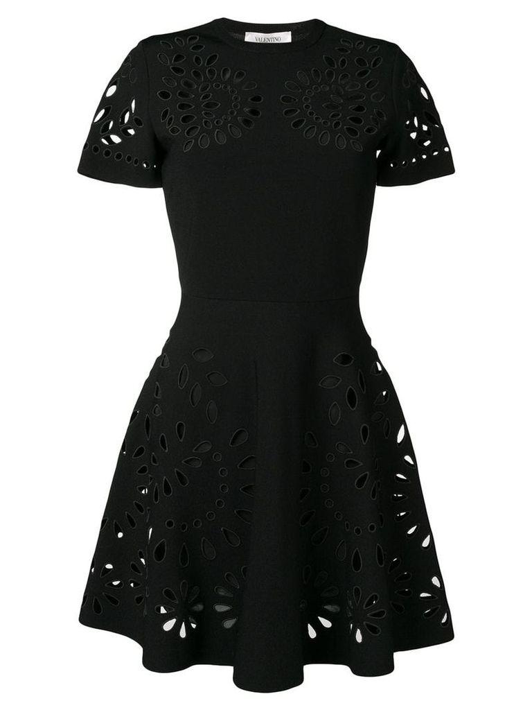 Valentino cut work embroidered dress - Black
