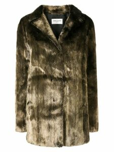 Saint Laurent metallic mink fur coat - Green