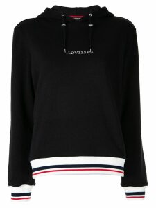 Loveless logo drawstring hoodie - Black