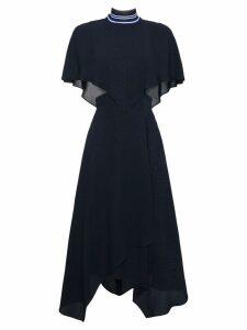 Fendi sleeveless crosshatch silk cape dress - Blue