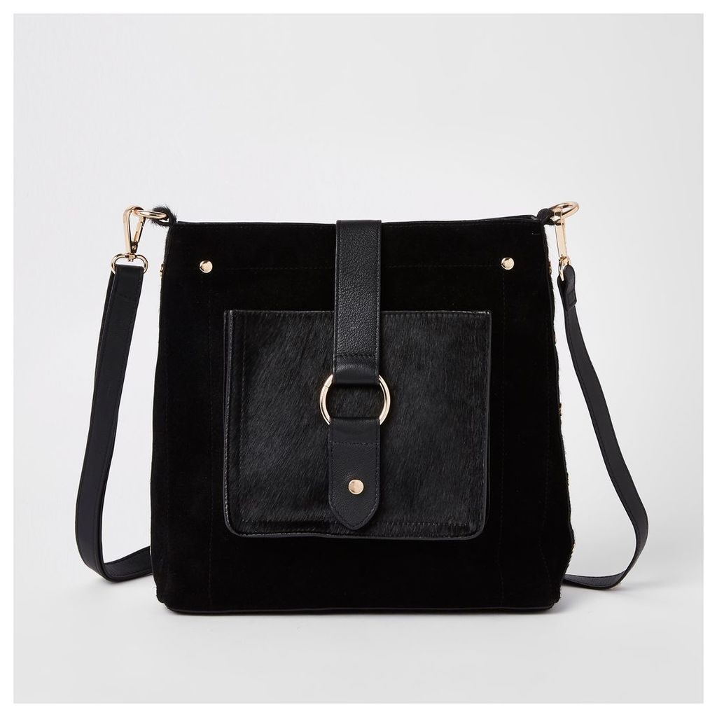 Womens Black leather hoop cross body bag
