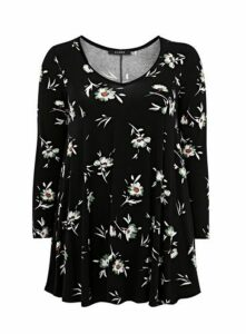 Black Floral Print Hanky Hem Top, Black
