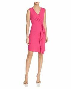 Donna Karan Ruffled Faux-Wrap Dress