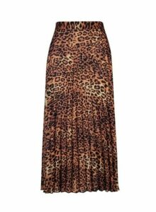 Womens Brown Animal Print Pleated Midi Skirt- Brown, Brown