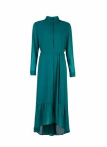 Womens Green Ruffle Hem Shirt Maxi Dress- Green, Green