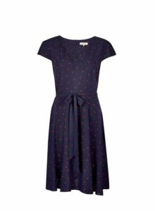 Womens **Billie & Blossom Navy Ladybird Print Skater Dress- Blue, Blue