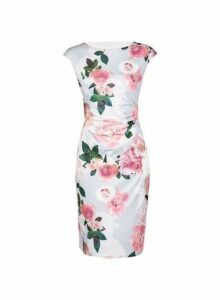 Womens **Billie & Blossom Grey Rose Print Bodycon Dress- Grey, Grey