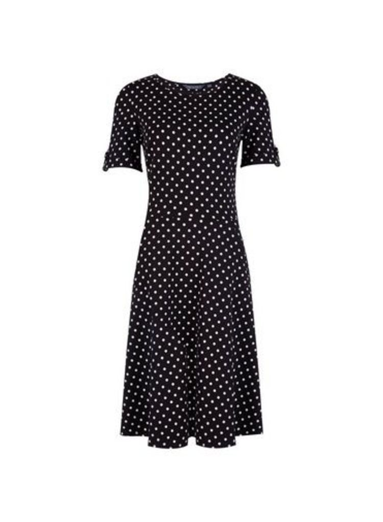 Womens **Tall Monochrome Spotted T-Shirt Dress- Black, Black