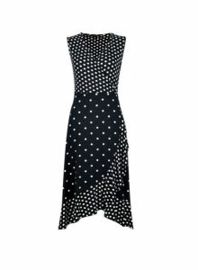 Womens Monochrome Spotted Mix And Match Skater Dress- Black, Black