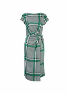 Womens **Lily & Franc Grey And Green Check Midi Wrap Dress- Grey, Grey