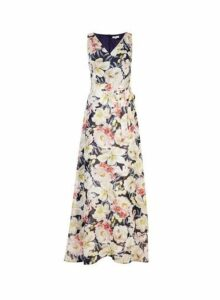 Womens Billie & Blossom Tall Multi Colour Floral Print Maxi Dress- Blue, Blue