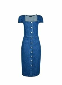 Womens Blue Button Front Square Neck Shift Dress- Blue, Blue