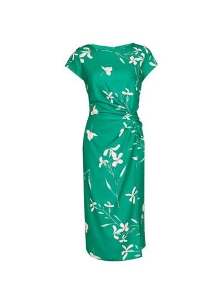 Womens **Lily & Franc Green Floral Print Wrap Dress- Green, Green
