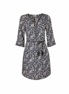 Womens **Billie & Blossom Navy Paisley Print Shift Dress- Blue, Blue