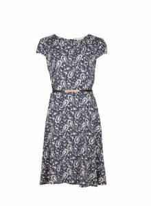 Womens **Billie & Blossom Paisley Fit And Flare Dress- Blue, Blue