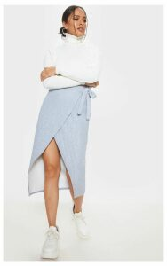 Grey Jumbo Rib Tie Waist Wrap Midi Skirt, Grey