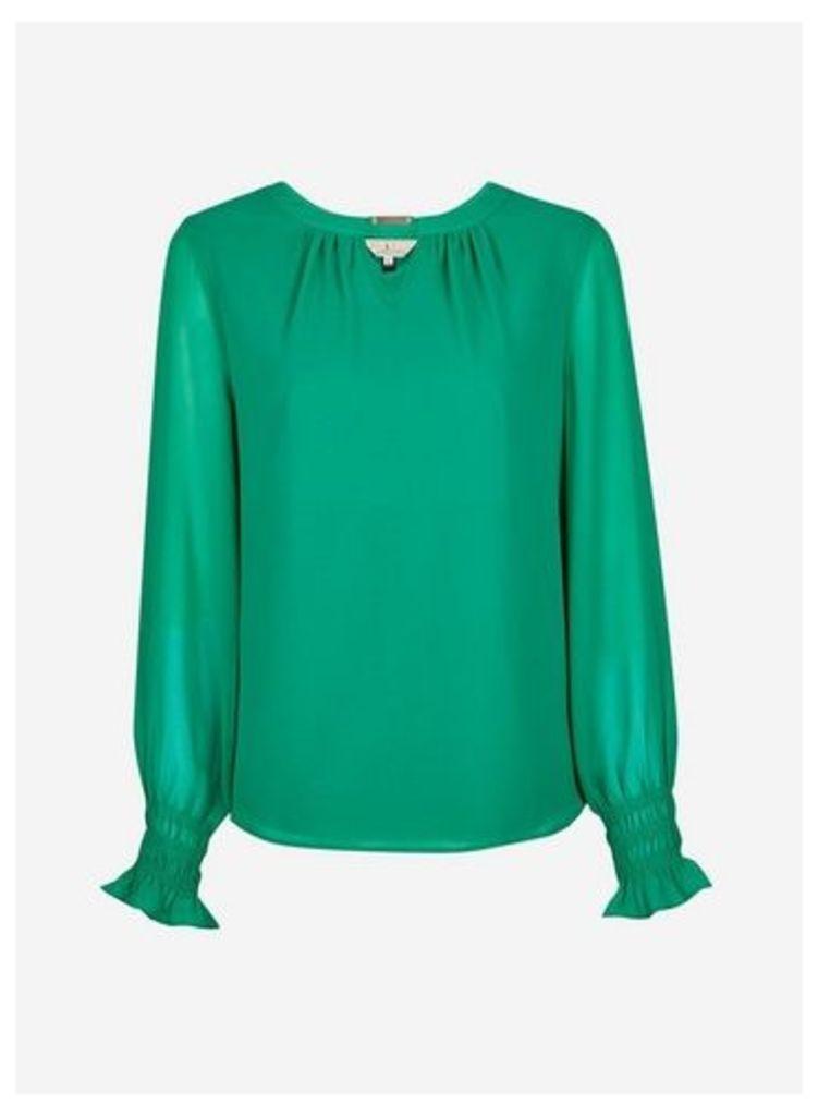 Womens **Billie & Blossom Green Long Sleeve Blouse- Green, Green