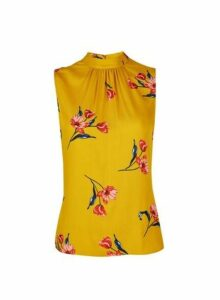 Womens Petite Yellow High Neck Floral Print Top- Yellow, Yellow