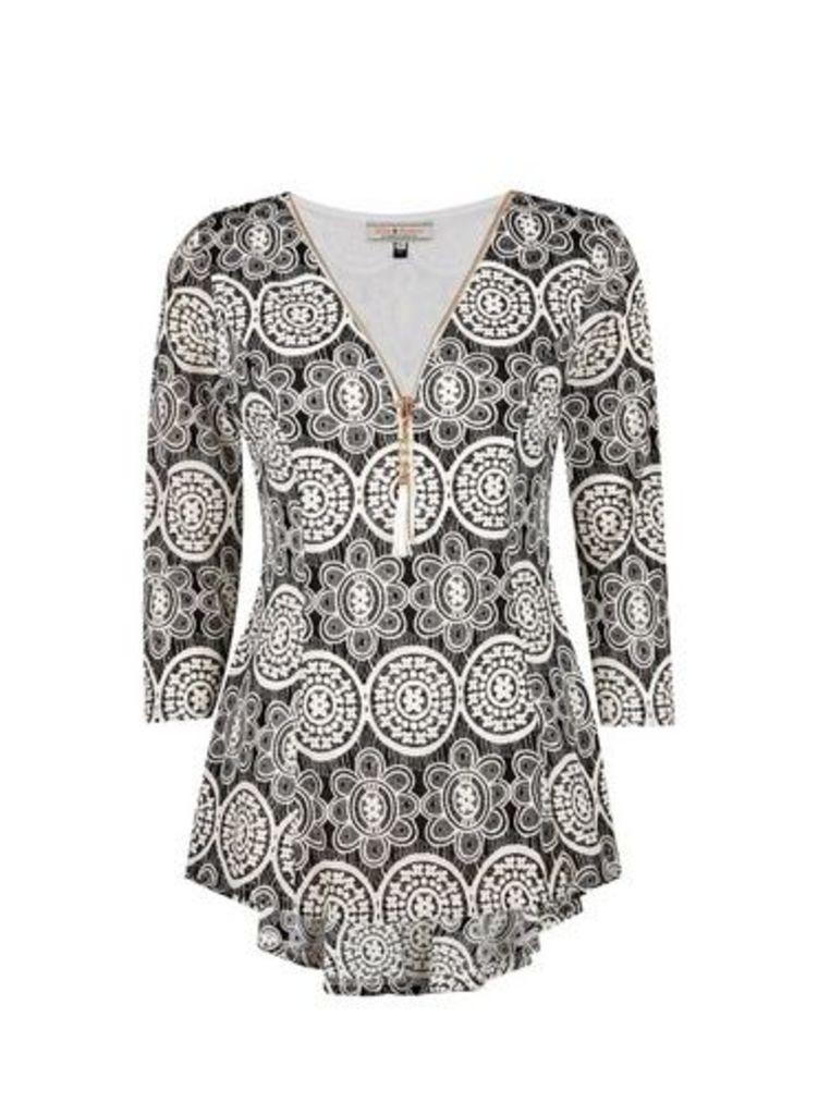 Womens **Billie & Blossom Mono Spiral Mesh Sleeve Top- Black, Black