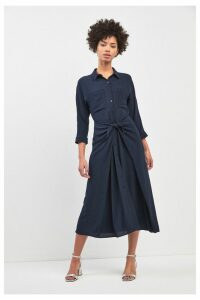 Womens Whistles Navy Selma Tie Dress -  Blue