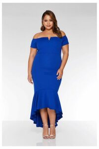 Womens Quiz Curve Bardot V Bar Dip Hem Dress -  Blue