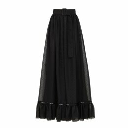 Off-White Black Polka-dot Sheer Chiffon Skirt