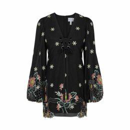 Alice McCALL Black Embroidered Cotton-blend Mini Dress