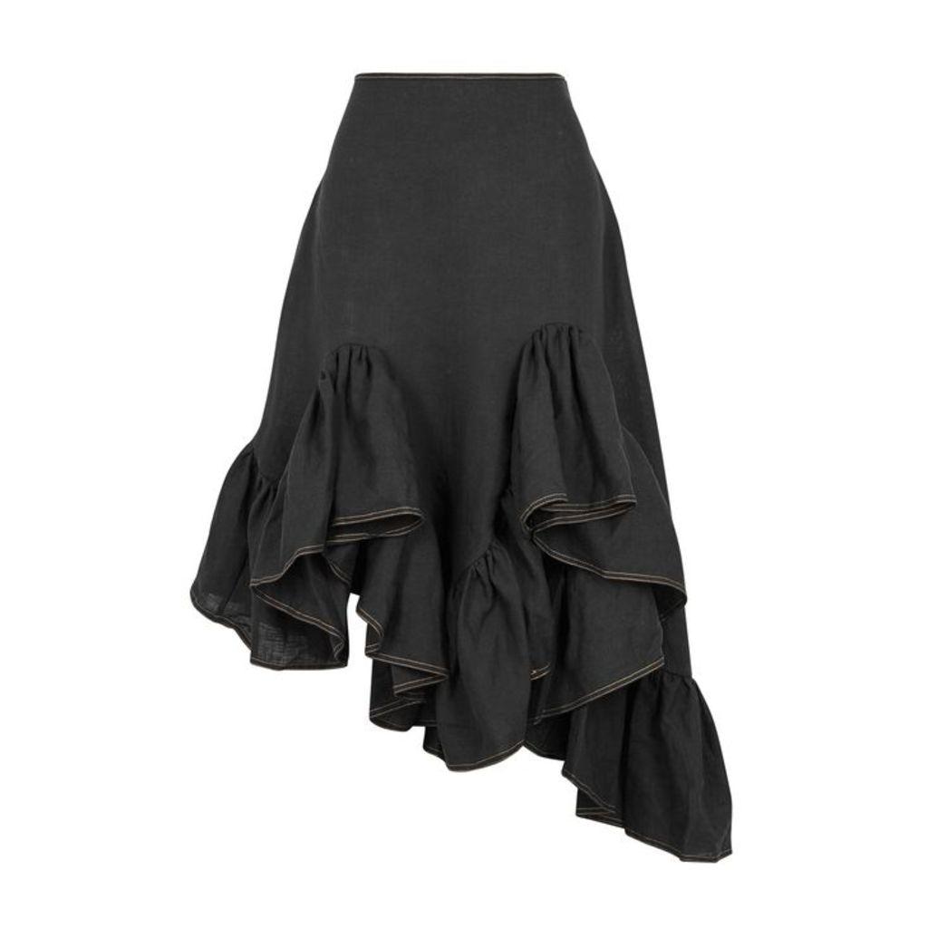 Marques' Almeida Black Ruffle-trimmed Linen Skirt