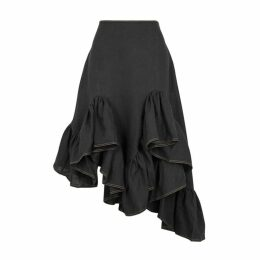 Marques' Almeida Black Ruffle-trimmed Linen Skirt