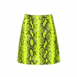 Off-White Neon Yellow Python-print Leather Skirt