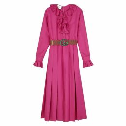 Gucci Magenta Ruffle-trimmed Silk Midi Dress