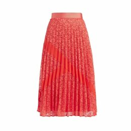 WtR Lupita Coral Pleated Lace Midi Skirt
