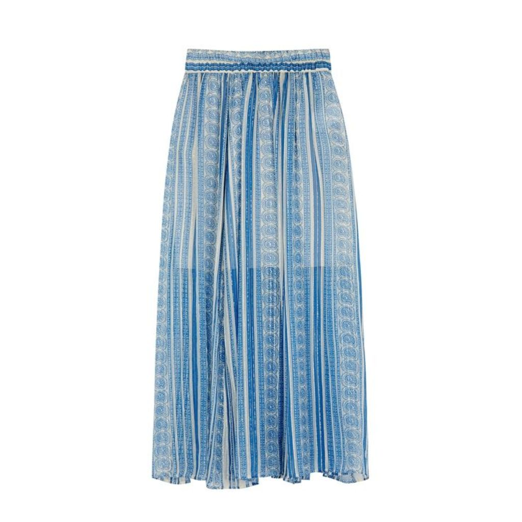 Philosophy Di Lorenzo Serafini Blue Printed Silk-blend Skirt